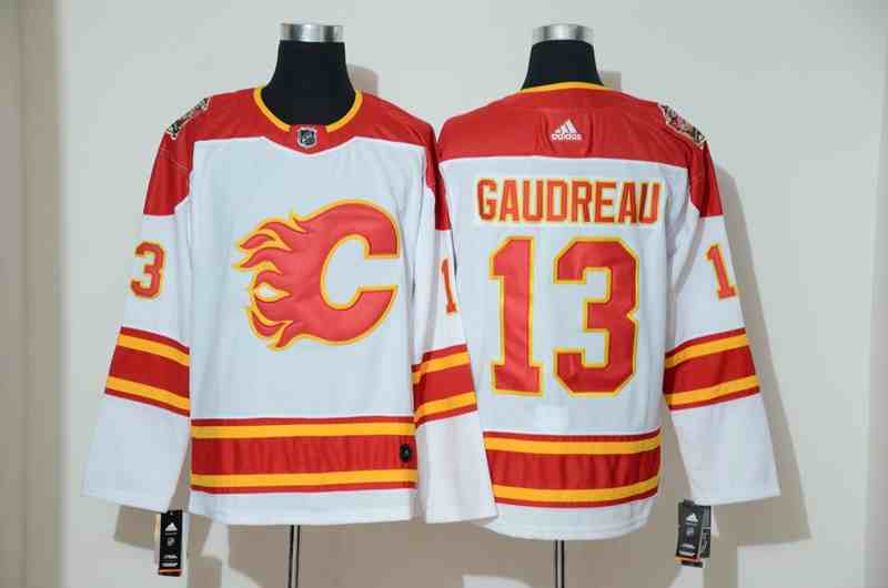 Flames 13 Johnny Gaudreau White 2019 Heritage Classic Breakaway Adidas Jersey
