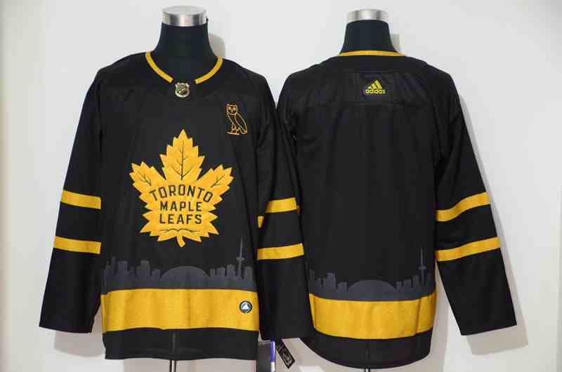 Maple Leafs Blank Black With Special Glittery Logo Adidas Jersey