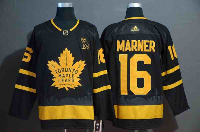 Maple Leafs 16 Mitchell Marner Black With Special Glittery Logo Adidas Jersey