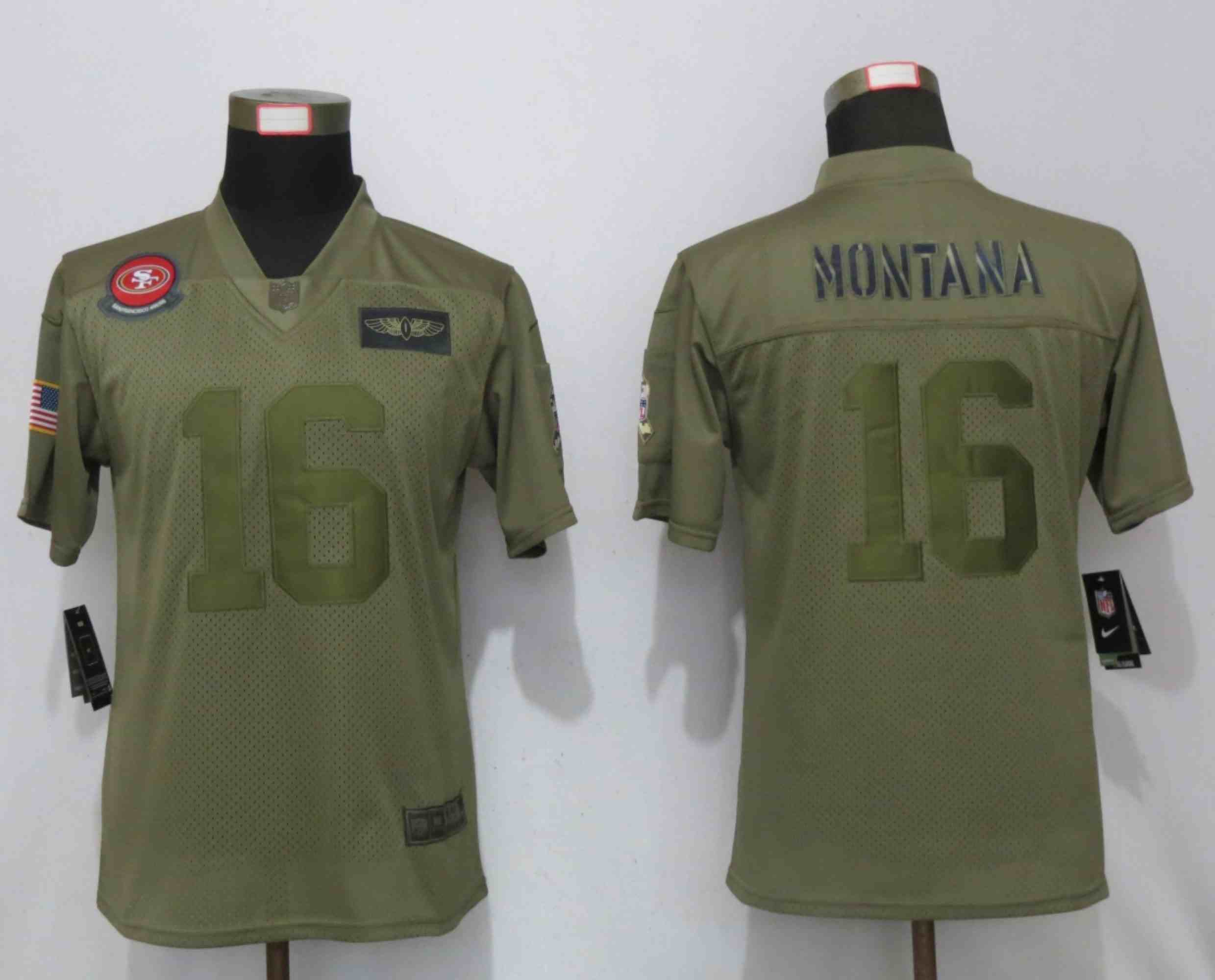 Women New Nike San Francisco 49ers 16 Montana Nike Camo 2019 Salute to Service Elite Playey
