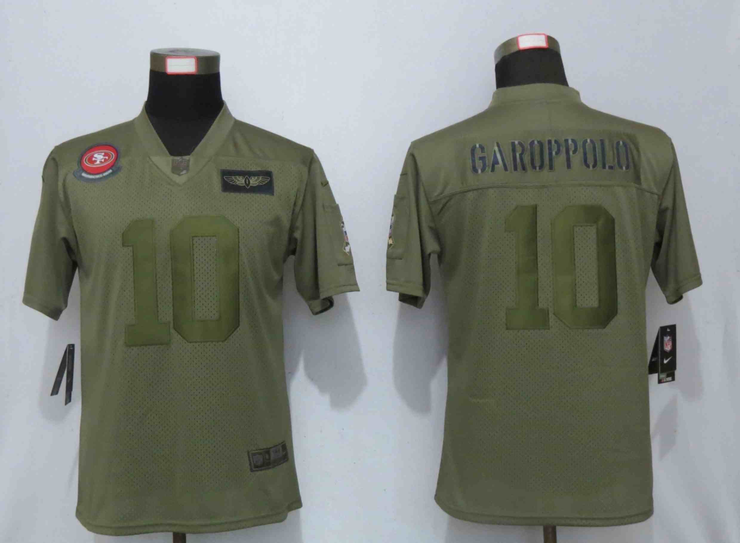 Women New Nike San Francisco 49ers 10 Garoppolo Nike Camo 2019 Salute to Service Elite Playey