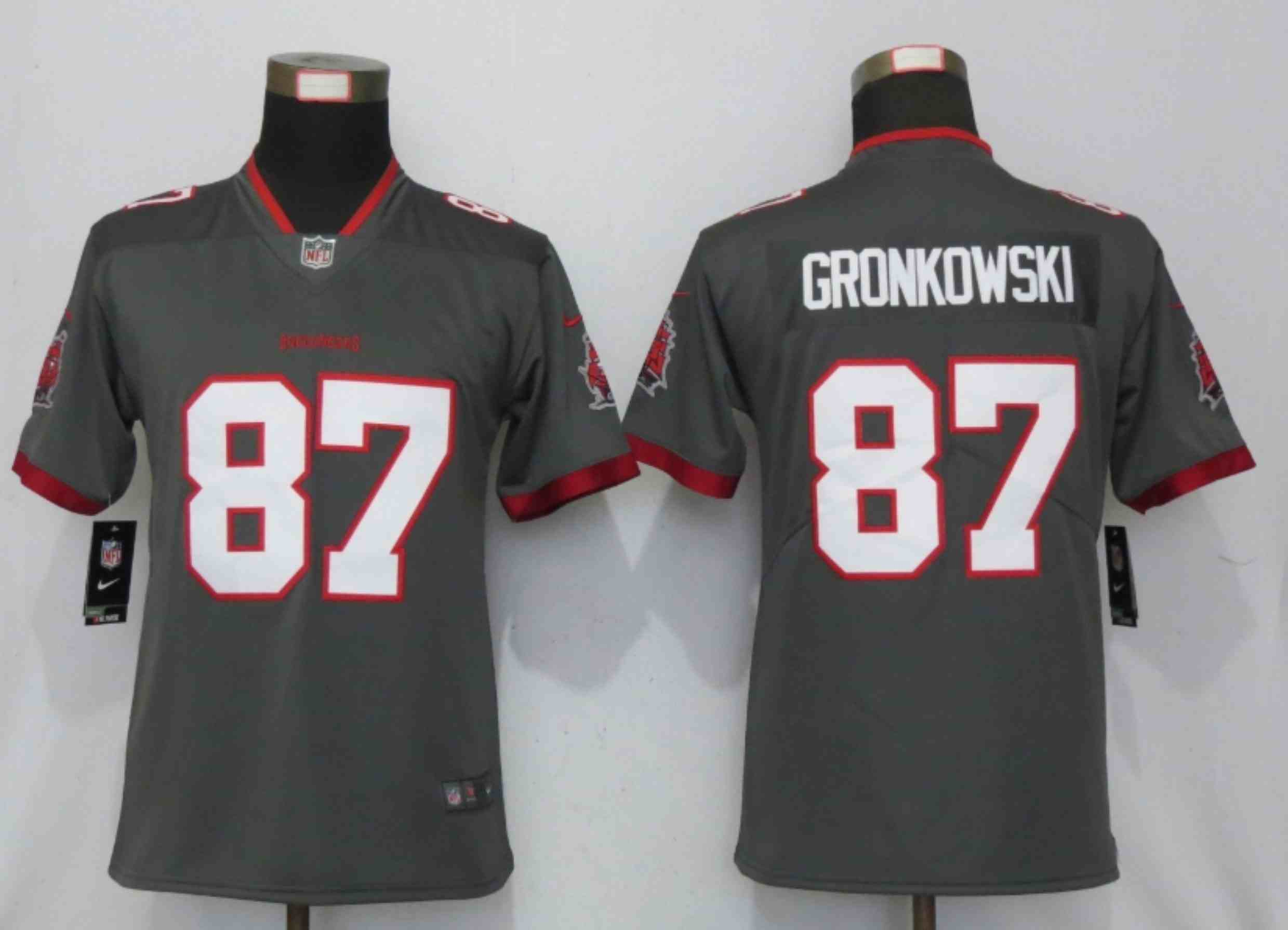 Women New Nike Tampa Bay Buccaneers 87 Gronkowski Nike Pewter Alternate Vapor Elite Playe