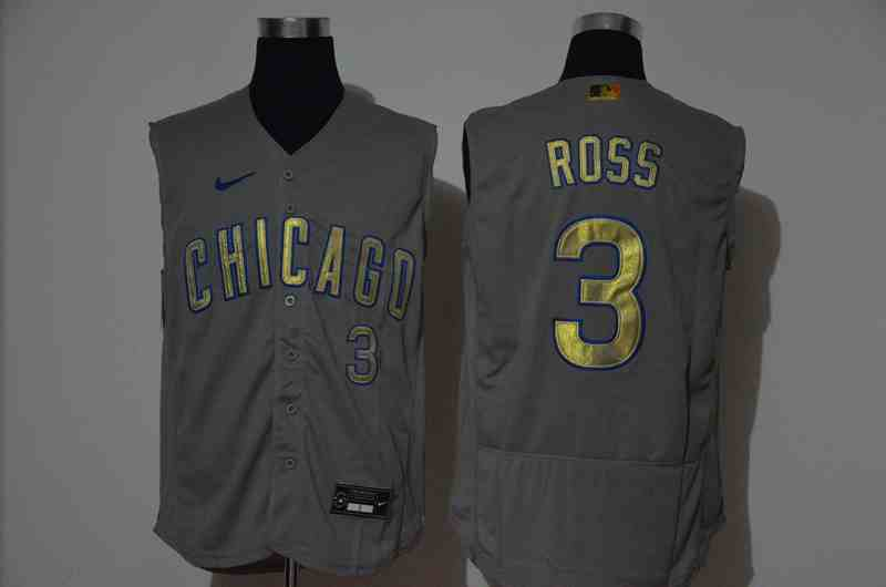 Cubs 3 ROSS Gray Gold Nike Cool Base Sleeveless Jersey