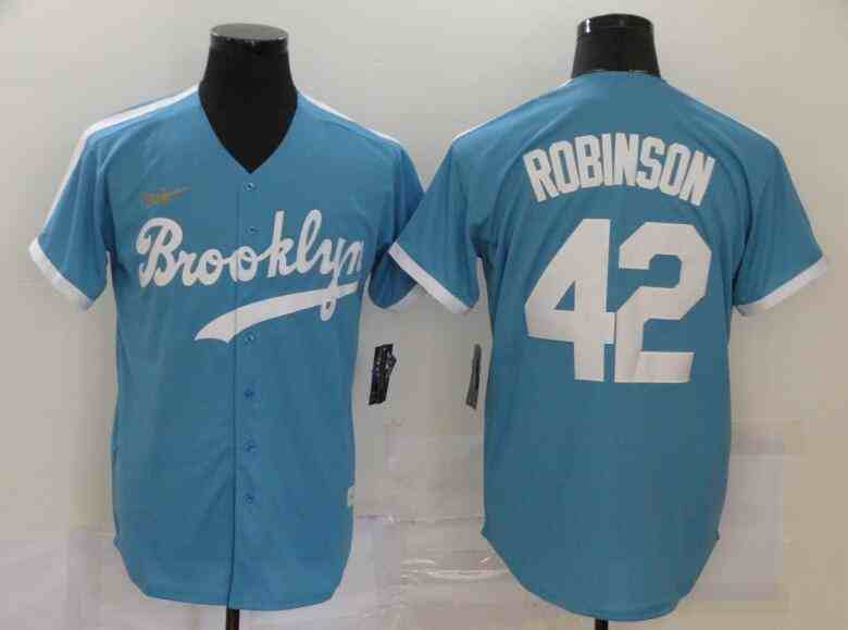 Dodgers 42 Jackie Robinson Light Blue 2020 Nike Cooperstown Collection Jersey