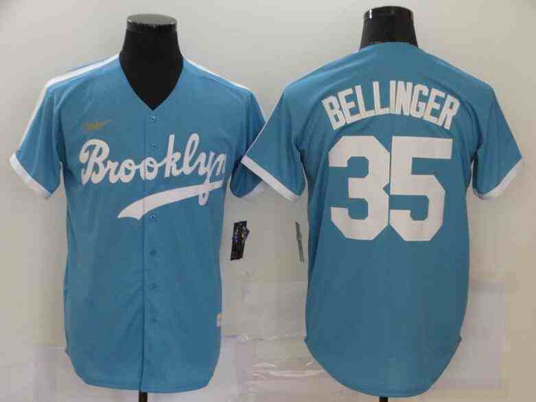 Dodgers 35 Cody Bellinger Light Blue 2020 Nike Cooperstown Collection Jersey