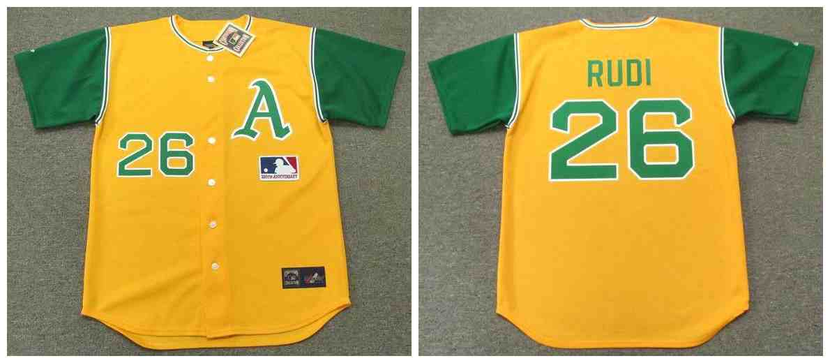 Athletics 26 Joe Rudi Yellow 1969'S Throwback Cool Base Jersey