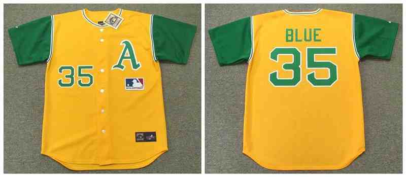 Athletics 35 Vida Blue Yellow 1969'S Throwback Cool Base Jersey