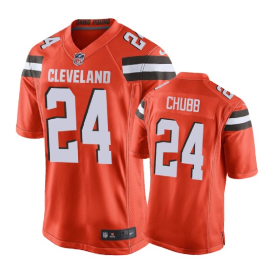 Browns 24 Nick Chubb Youth Orange Jerseys