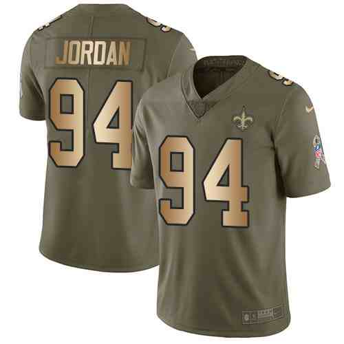 Nike Saints 94 Cameron Jordan Olive Gold Salute To Service Limited Youth  Jersey