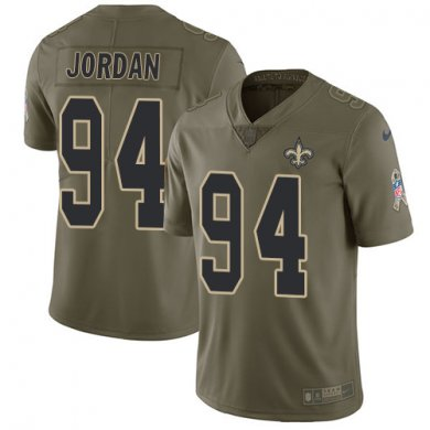 Nike Saints #94 Cameron Jordan Olive Mens Stitched NFL Limited 2017 Salute To Service Youth Jersey