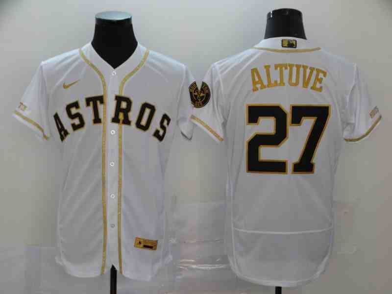 Astros 27 Jose Altuve White Retro gold character 2020 Nike Cool Base Jersey