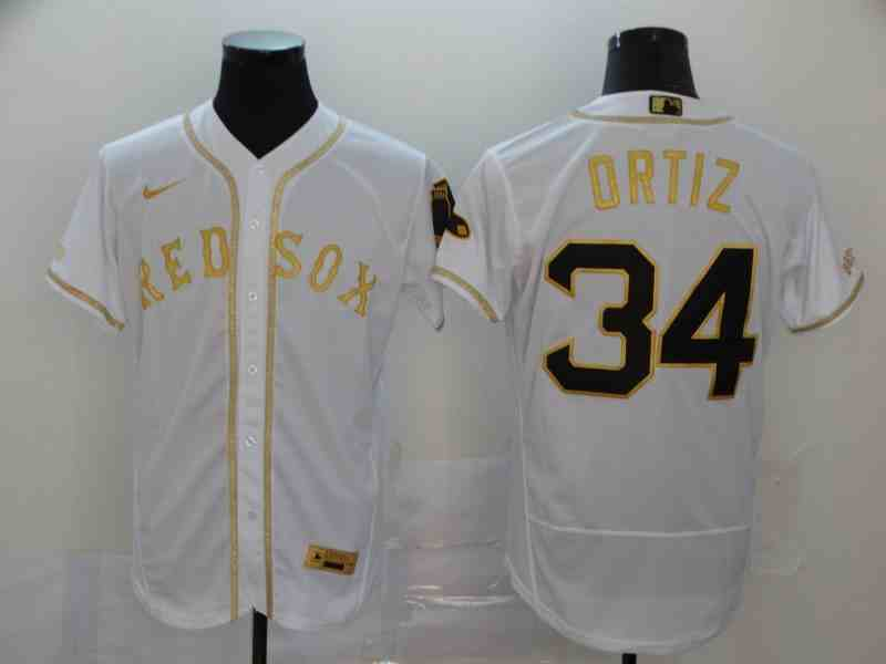 Boston Red Sox #34 David Ortiz White Retro gold character 2020 Nike Cool Base Jersey