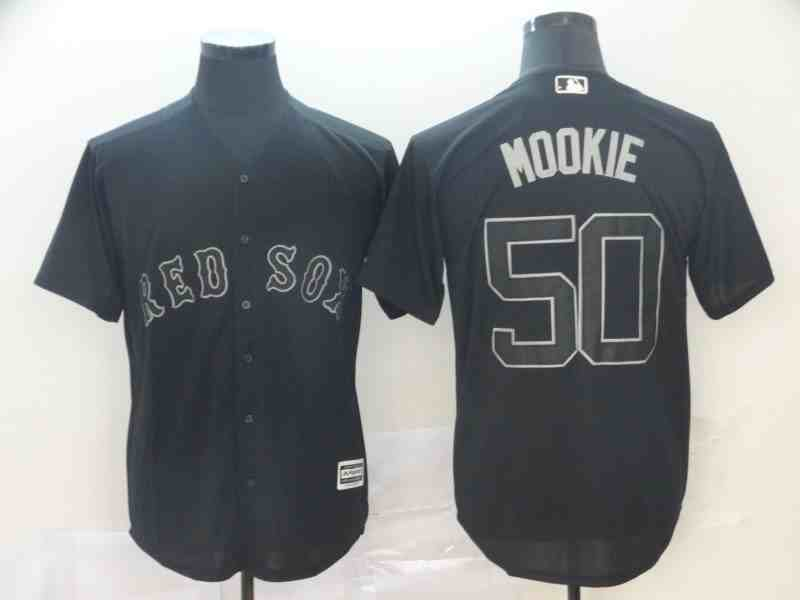 Red Sox 50 Mookie Betts  Mookie  Black 2019 Players' Weekend Player Jersey