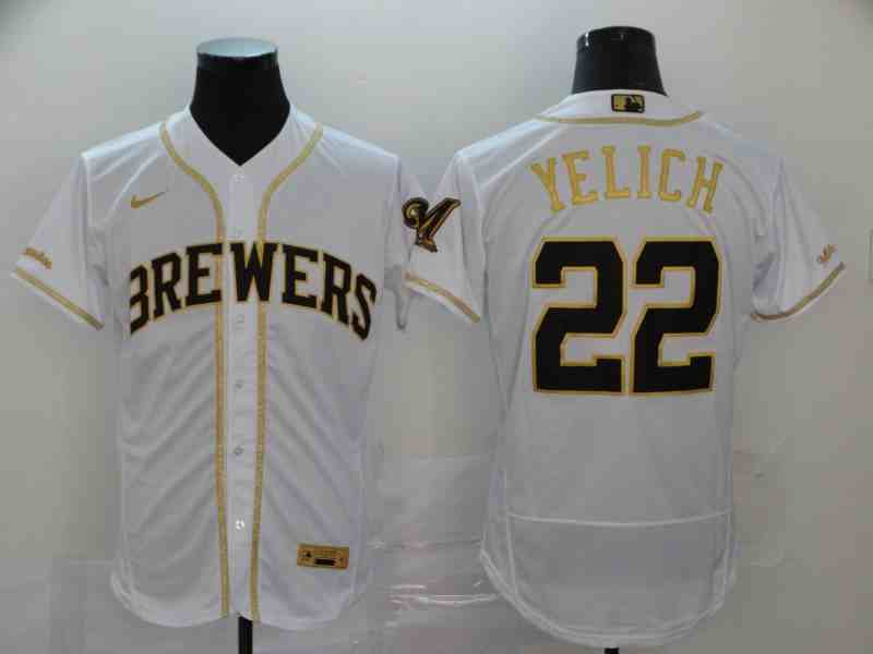 Brewers 22 Christian Yelich White Retro gold character 2020 Nike Cool Base Jersey