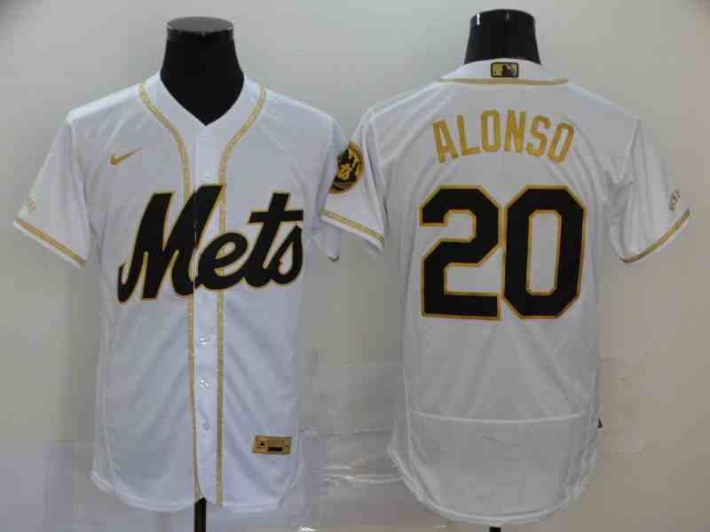 Mets 20 Pete Alonso White Retro gold character 2020 Nike Cool Base Jersey