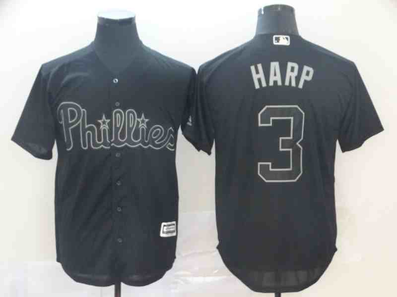 Phillies 3 Bryce Harper  Harp  Black 2019 Players' Weekend Player Jersey
