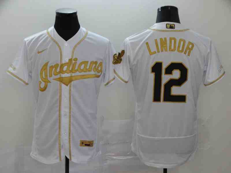 Indians 12 Francisco Lindor White Retro gold character 2020 Nike Cool Base Jersey