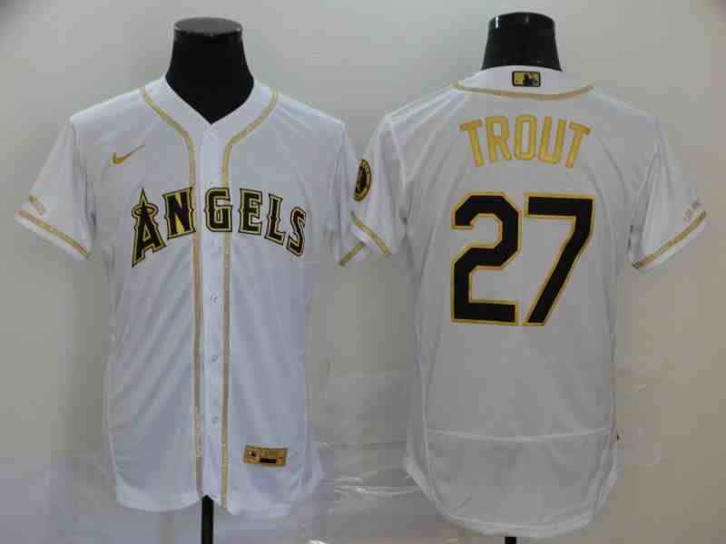 Angels 27 Mike Trout White Retro gold character 2020 Nike Cool Base Jersey