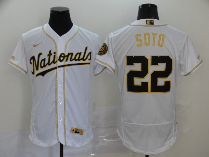 Nationals 22 Juan Soto White Retro gold character 2020 Nike Cool Base Jersey