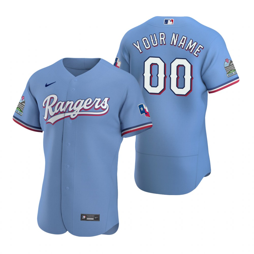 Texas Rangers Custom Nike Light Blue Jersey