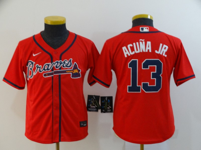 Braves 13 Ronald Acuna Jr. Red Youth 2020 Nike Cool Base Jersey