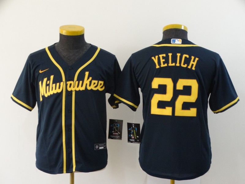 Brewers 22 Christian Yelich Navy Youth Nike 2020 Cool Base Jersey