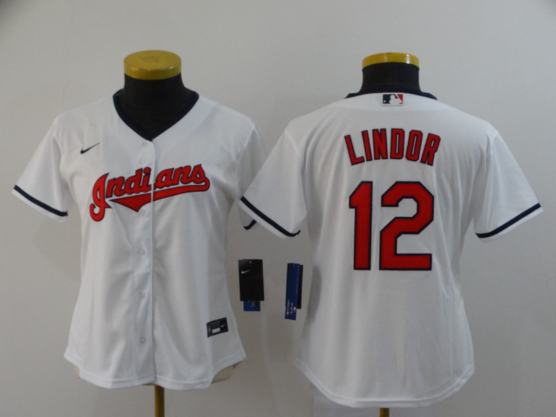 Indians 12 Francisco Lindor White Nike Women 2020 Cool Base Jersey