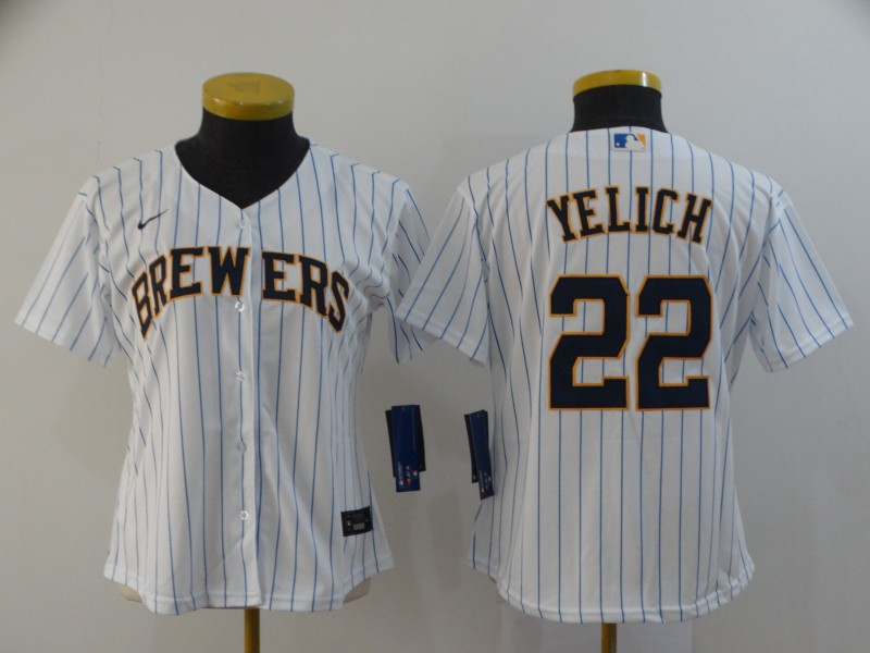 Brewers 22 Christian Yelich White Women Nike 2020 Cool Base Jersey