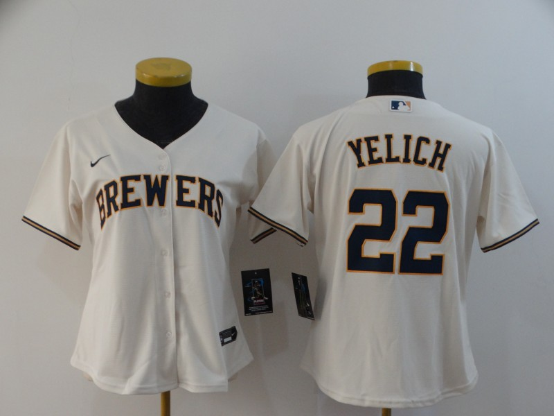 Brewers 22 Christian Yelich Cream Women Nike 2020 Cool Base Jersey
