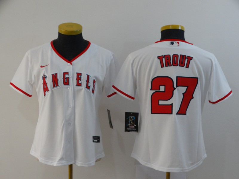 Angels 27 Mike Trout White Women 2020 Nike Cool Base Jersey