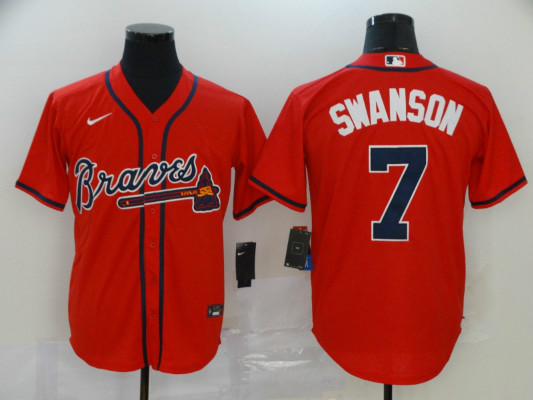 Braves 7 Dansby Swanson Red 2020 Nike Cool Base Jersey
