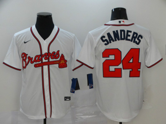 Braves 24 Deion Sanders White 2020 Nike Cool Base Jersey