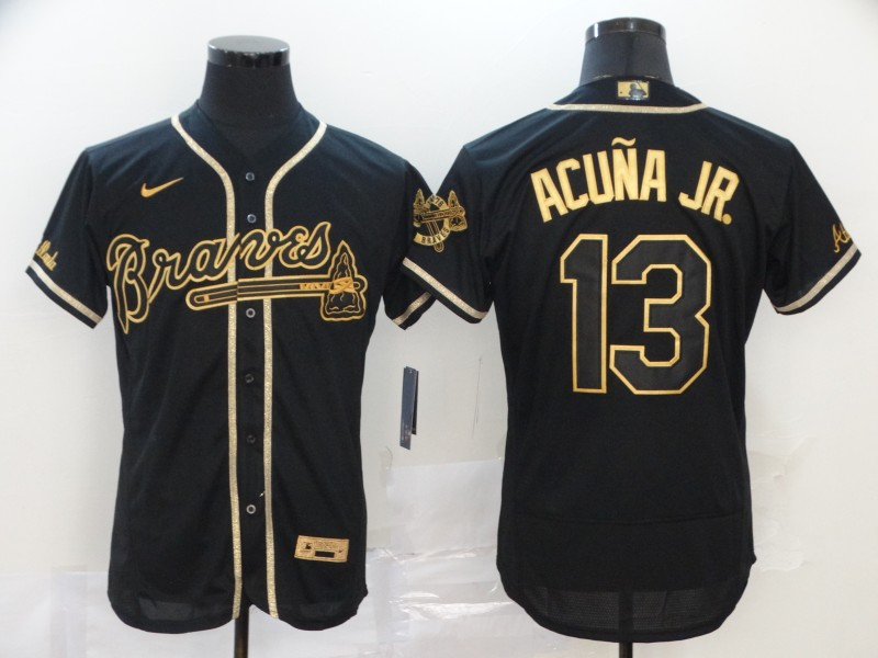 Braves 13 Ronald Acuna Jr. Black Gold 2020 Nike Flexbase Jersey