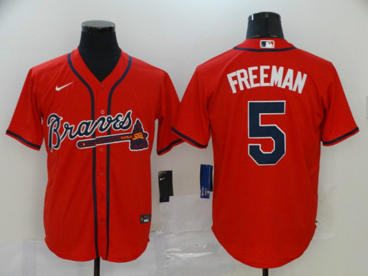 Braves 5 Freddie Freeman Red 2020 Nike Cool Base Jersey