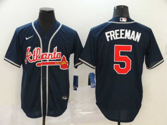 Braves 5 Freddie Freeman Navy 2020 Nike Cool Base Jersey