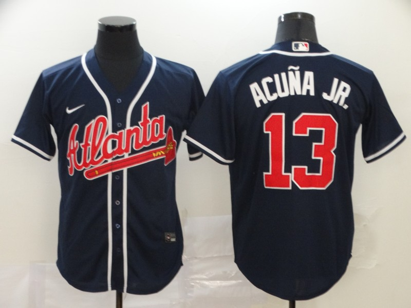 Braves 13 Ronald Acuna Jr. Navy 2020 Nike Cool Base Jersey