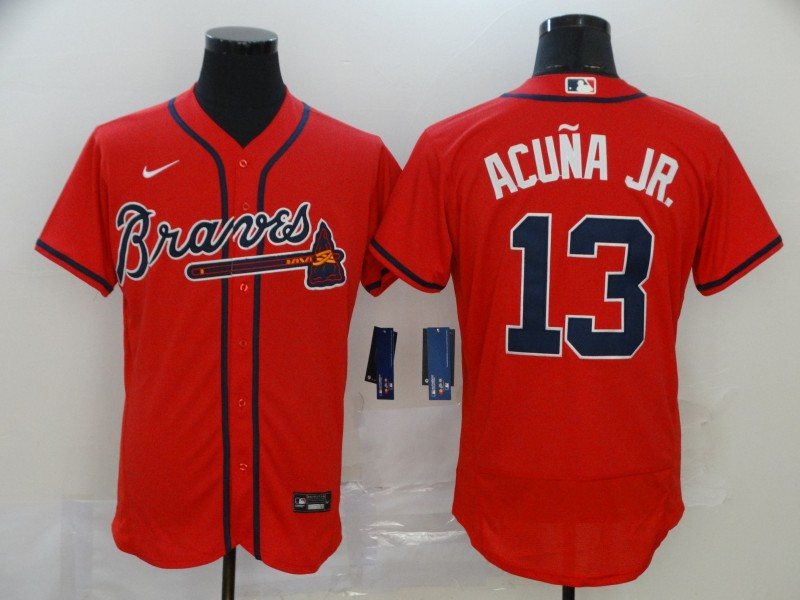 Braves 13 Ronald Acuna Jr. Red 2020 Nike Flexbase Jersey