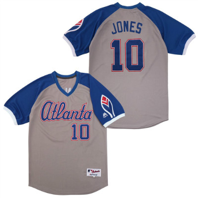 Braves 10 Chipper Jones Gray Turn Back The Clock Jersey