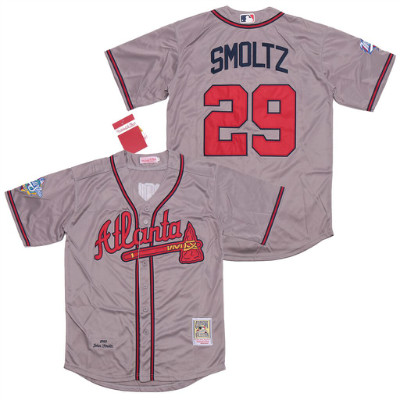Braves 29 John Smoltz Gray 1999 World Series Cooperstown Collection Jersey