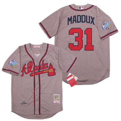 Braves 31 Greg Maddux Gray 1999 World Series Cooperstown Collection Jersey