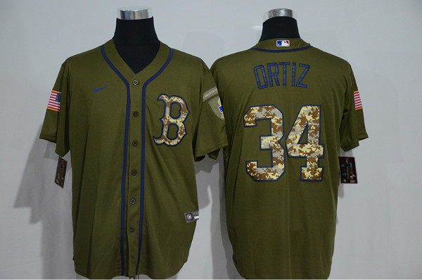 Red Sox 34 David Ortiz Olive 2020 Nike Cool Base Jersey
