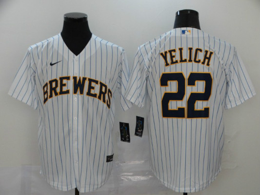 Brewers 22 Christian Yelich White Stripe Nike 2020 Cool Base Jersey