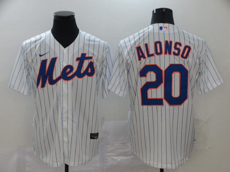 Mets 20 Pete Alonso White 2020 Nike Cool Base Jersey