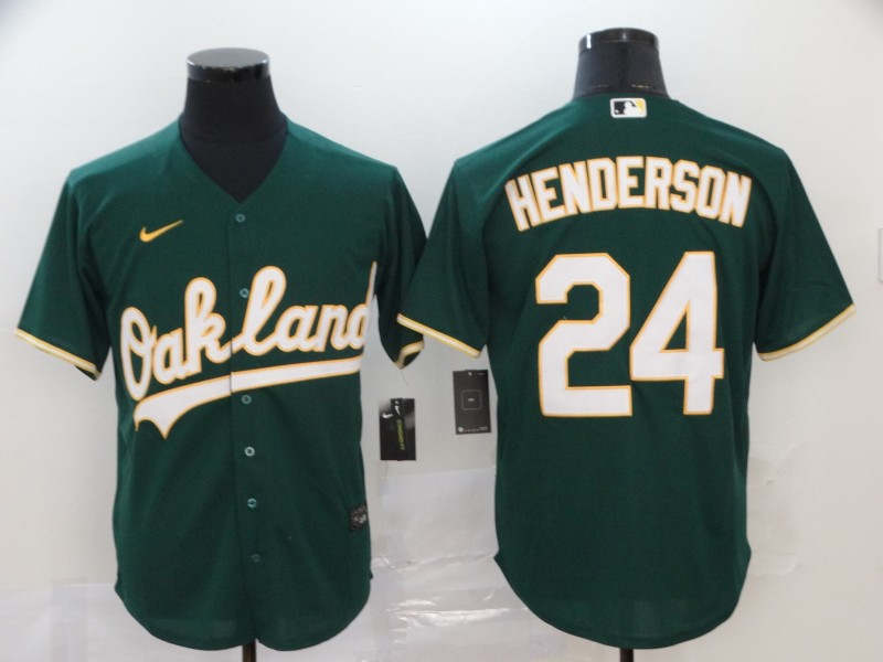 Athletics 24 Rickey Henderson Green 2020 Nike Cool Base Jersey