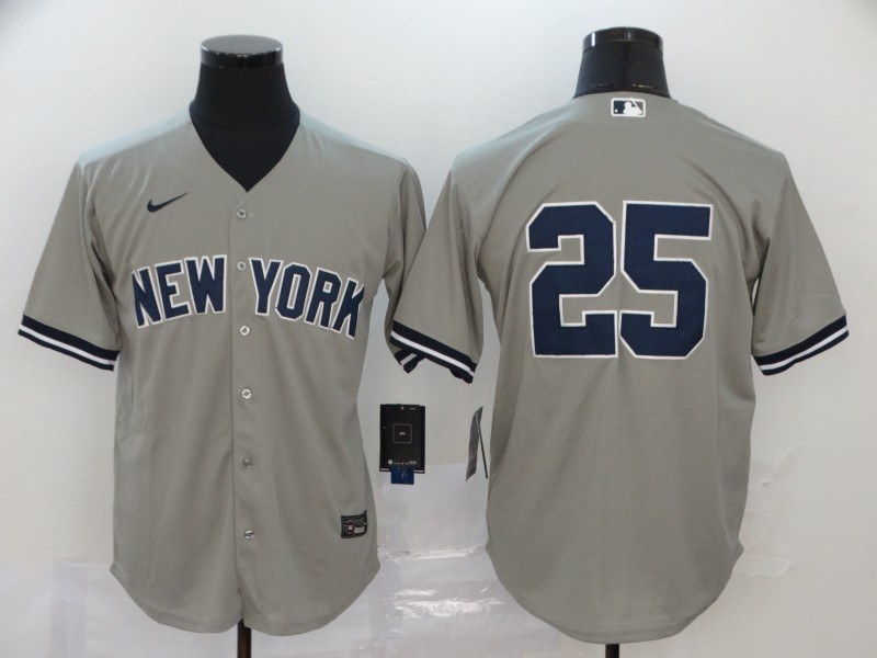 Yankees 25 Gleyber Torres Gray 2020 Nike Cool Base Replica Player Jersey