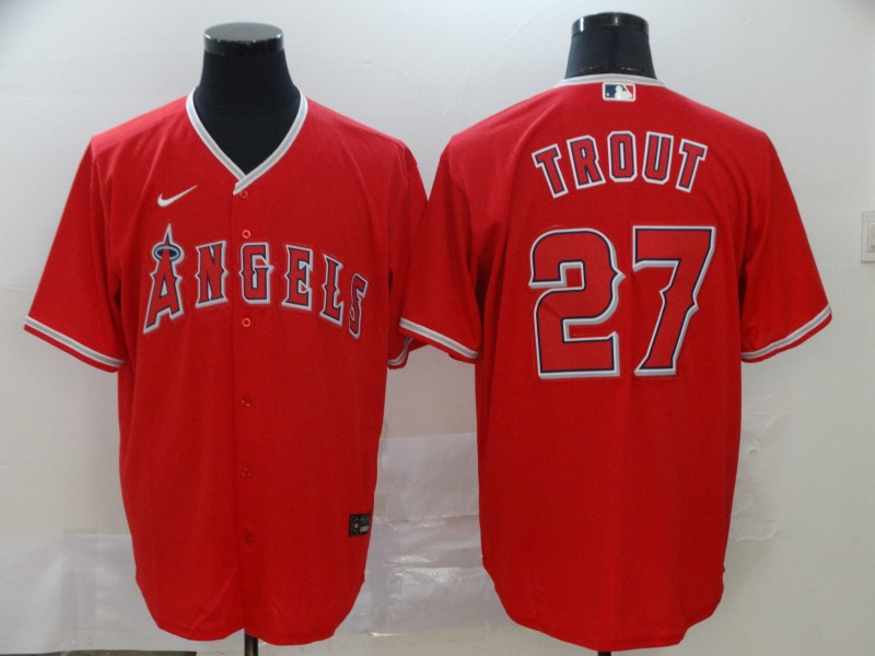 Angels 27 Mike Trout Red 2020 Nike Cool Base Jersey