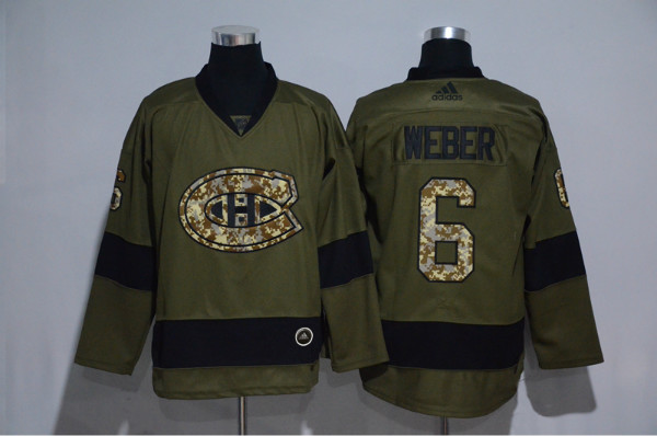 Canadiens 6 Shea Weber Olive Adidas Jersey