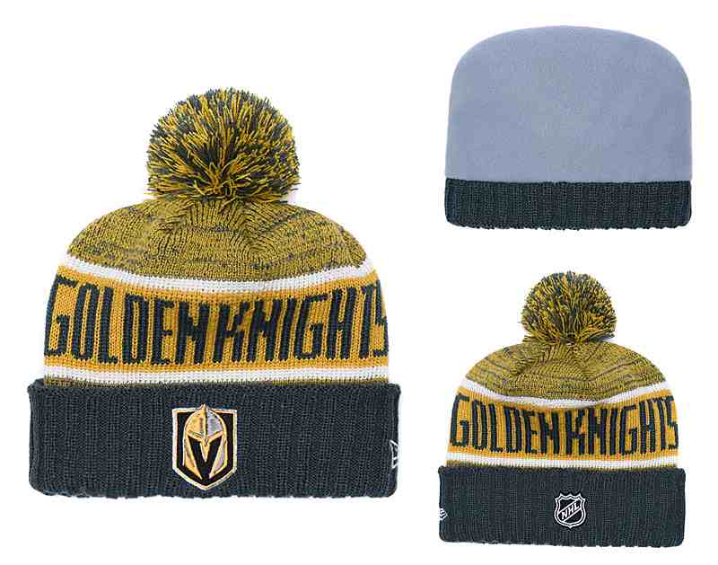 Vegas-Golden-Knights-Fresh-Logo-Yellow-Black-Pom-Knit-Hat-YD