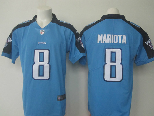 Nike Titans 8 Marcus Mariota Light Blue Youth Color Rush Limited Jersey