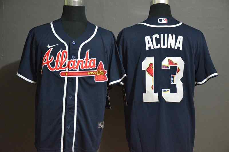 Braves 13 Ronald Acuna Jr. Nave 2020 Nike Cool Base Fashion Jersey